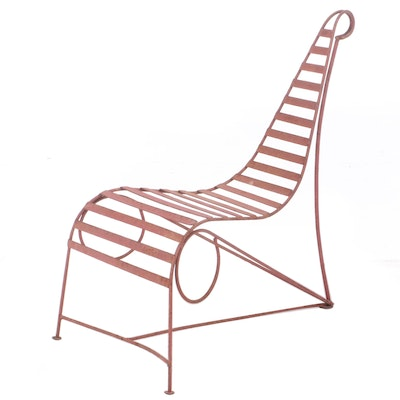 Modernist Painted Metal Patio Lounge Chair, Style of André Dubreuil