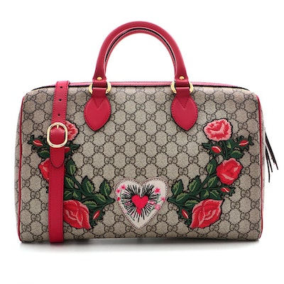 Gucci Embroidered GG Supreme Canvas Medium Convertible Boston Bag