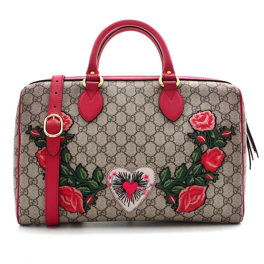 Gucci Embroidered GG Supreme Canvas Medium Convertible Boston Bag
