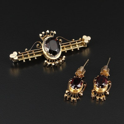 Mid-Victorian Red Glass Dangle Earrings and Bar Brooch