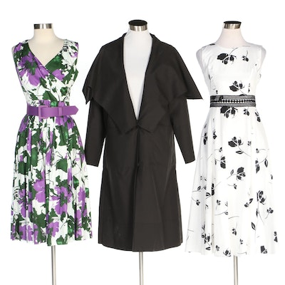 J. Peterman Black Cape Collar Coat with Lace Waist and Southern Belle Dresses
