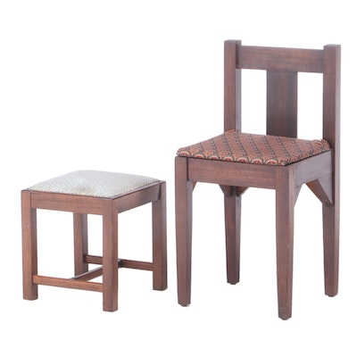 Mahogany Child's Side Chair Plus Footstool