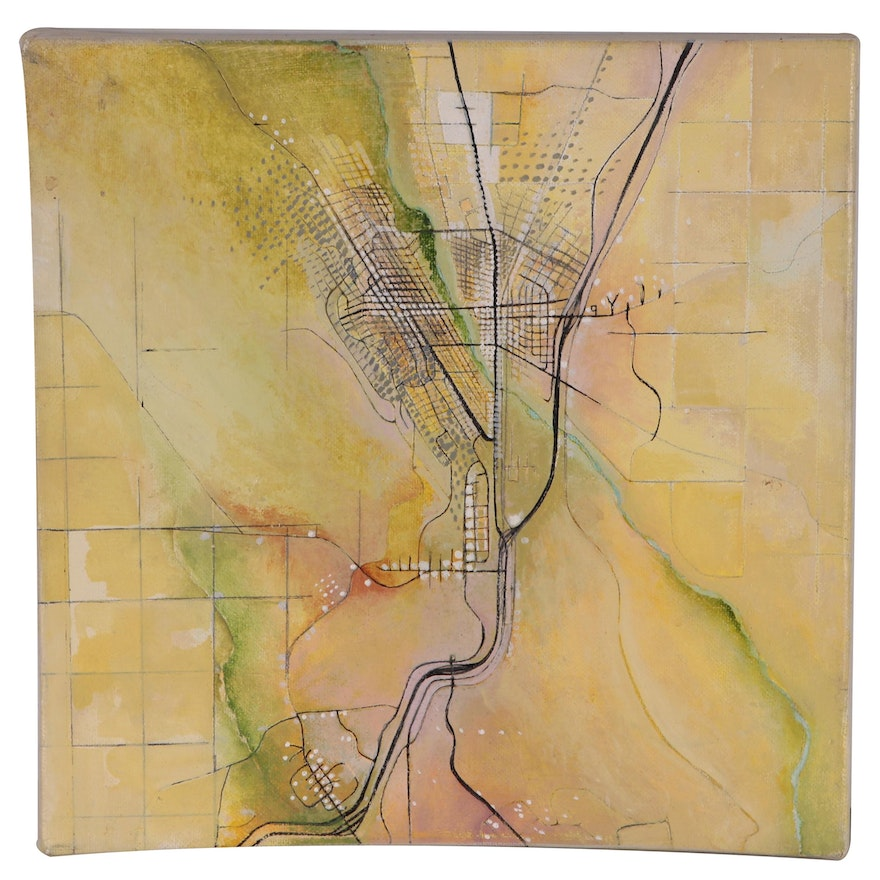 "Abstract Alkyd Painting ""Intuitive Map - Las Vegas, New Mexico"""
