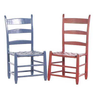 Pair of Painted Ladderback Side Chairs, Late 19th Century