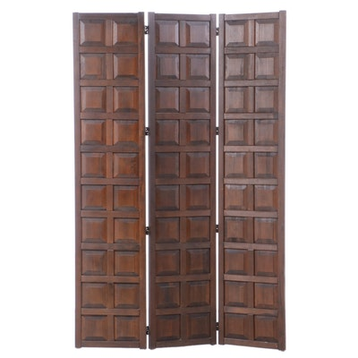 Stained Hardwood Three-Panel Folding Screen