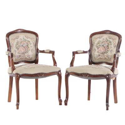 Pair of Signature Collection Inc. Louis XV Style Beech Fauteuils