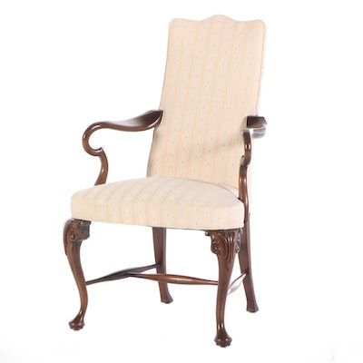 Hickory Chair Co. Queen Anne Style Mahogany Open Armchair