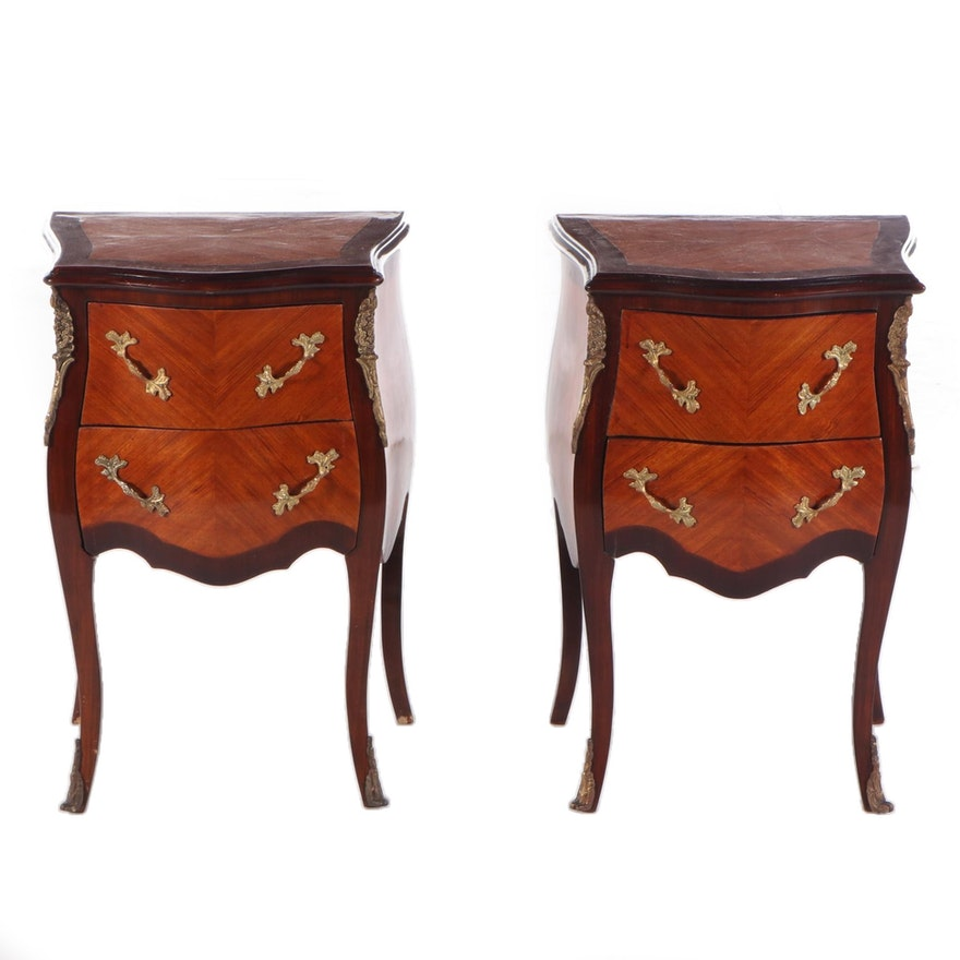 Pair of Louis XV Style Gilt Metal-Mounted Kingwood and Tulipwood Petite Commodes