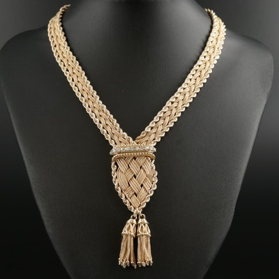 14K Yellow Gold Diamond Braided Necklace with Foxtail Chain Tassels