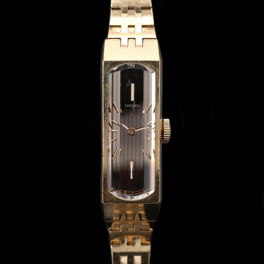 Vintage Seiko Gold Tone Stem Wind Wristwatch