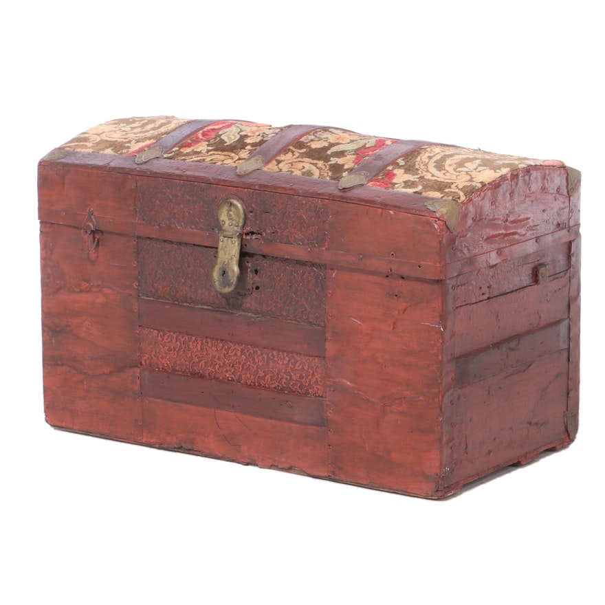 Late Victorian Painted Steamer Trunk with Upholstered Lid