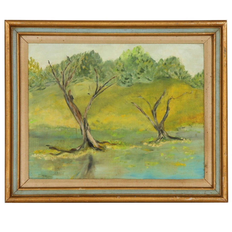 R. A. Hawley Pond Landscape Oil Painting, Mid to Late 20th Century