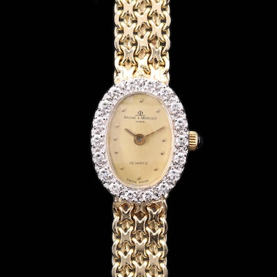 Vintage Baume & Mercier Diamond Bezel 14K Gold Quartz Wristwatch