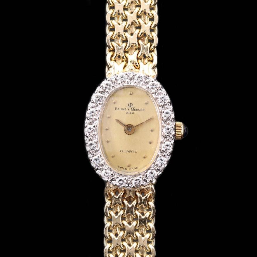 Vintage Baume & Mercier Diamond Bezel 14K Gold Quartz Wristwatch