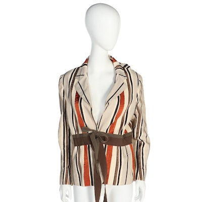 Moschino Cheap and Chic Multicolor Striped Jacket with Grosgrain Tie Sash