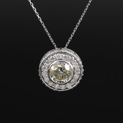 14K White Gold 2.54 CTW Diamond Pendant Necklace