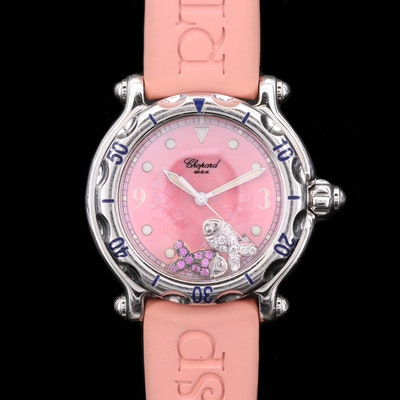 Chopard Happy Sport Stainless Steel Quartz Watch with Diamond and Sapphire Fish