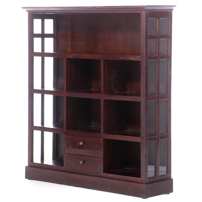 Stained Hardwood Four-Tier Bookcase with Two Drawers