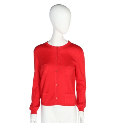 Prada Red Knit Four-Pocket Cardigan