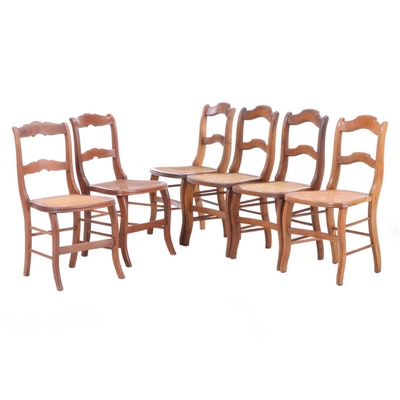 Six Victorian Ladderback Cane-Seat Side Chairs