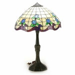 Paragon Tiffany Style Blue Tulip Slag Glass Table Lamp