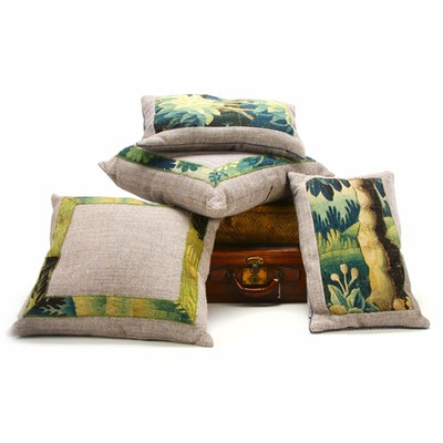 Corban Leather Suitcase, Rattan Shirt Box and Woven Tweed Pillows