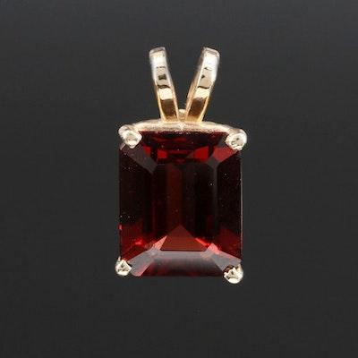 14K Gold Garnet Pendant