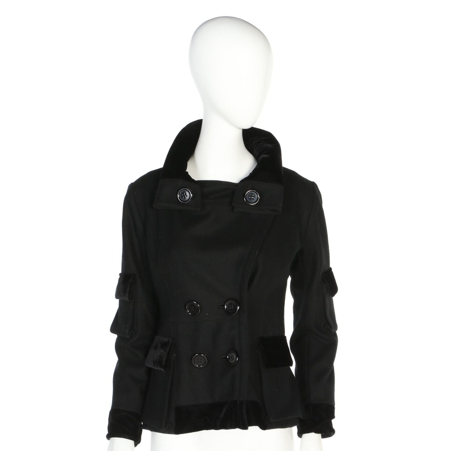 Moschino Jeans Double-Breasted Black Wool Jacket with Velvet Trim