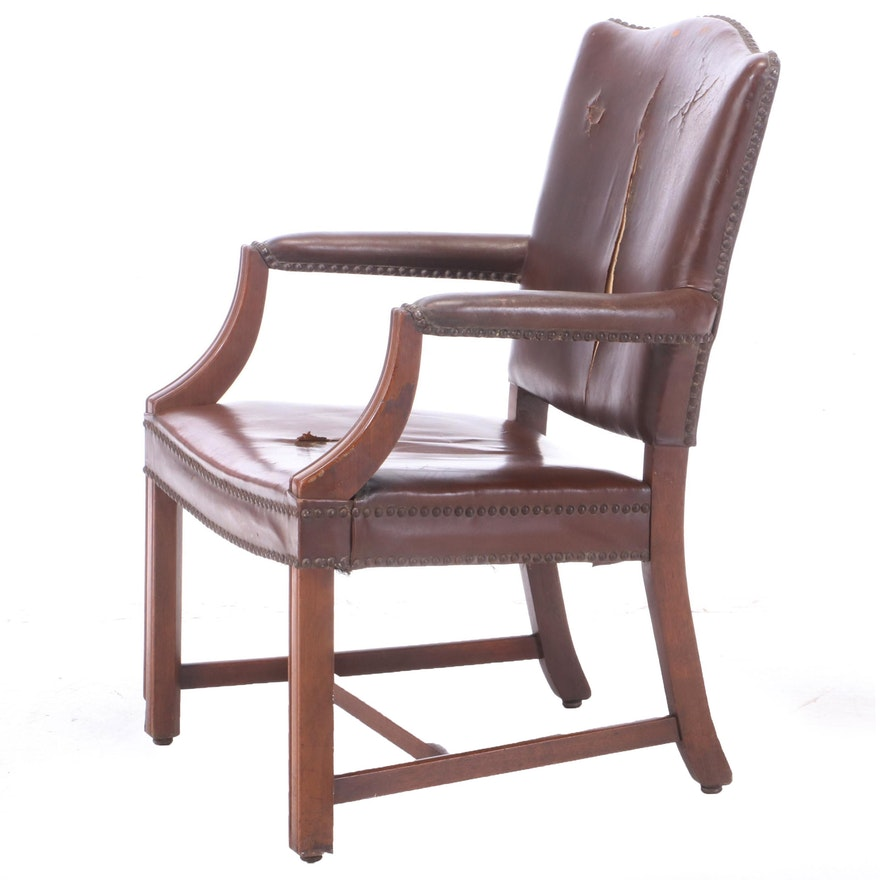 Chippendale Style Mahogany and Brown Leather Open Armchair
