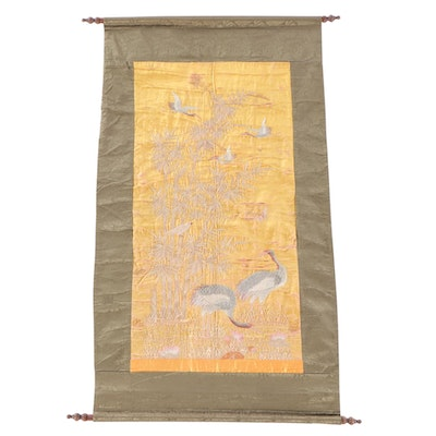 Japanese Hand-Embroidered Silk Wall Scroll with Red-Crowned Cranes, Meiji Era