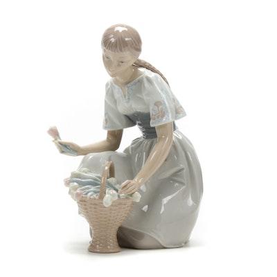"Lladró ""Girl With Tulips"" Porcelain Figurine Designed by Salvador Furió"
