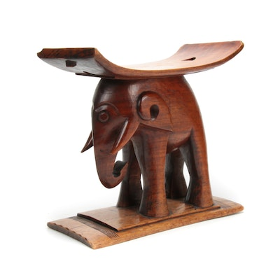 Ashanti Style Elephant-Carved Stool