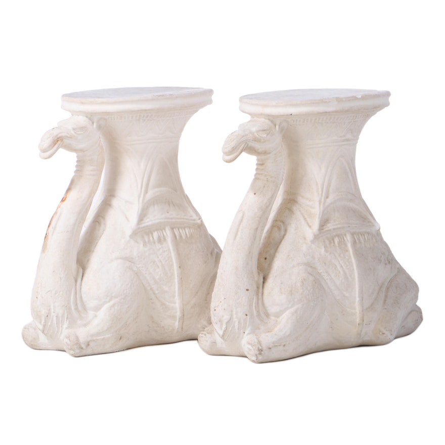 Pair of Molded Plaster Camel-Form Stands