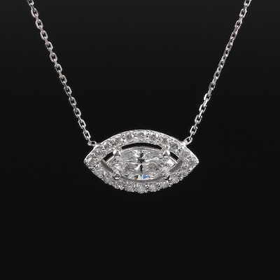 14K White Gold 1.16 CTW Diamond Pendant Necklace