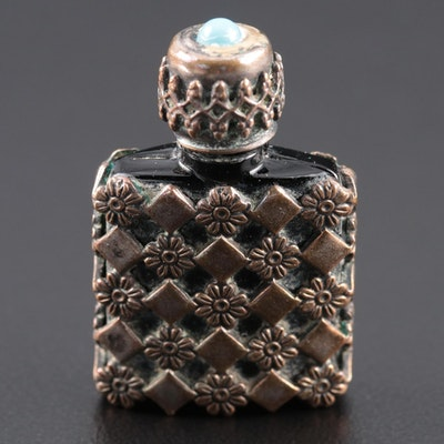 Metal Embellished Glass Perfume Flask with Imitation Turquoise Cabochon