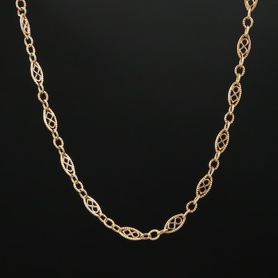 Circa 1910 14K Yellow Gold Scroll and Milgrain Necklace