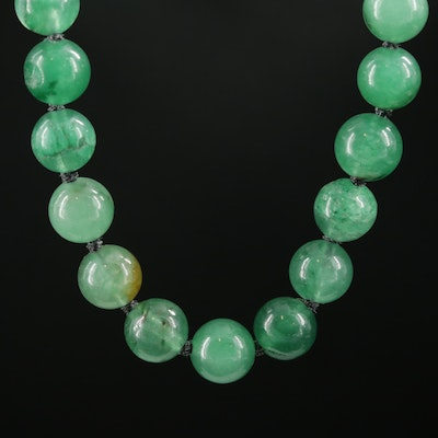 Green Quartz Beaded Necklace with 10K and 14K Clasp