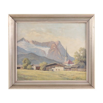 Joseph Bialas Mountainside Village Landscape Oil Painting, 20th Century