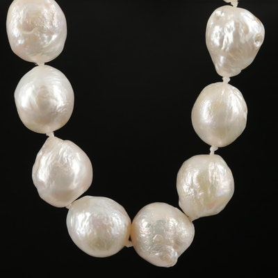Hand Knotted Cultured Pearl Strand Necklace with 14K White Gold Clasp