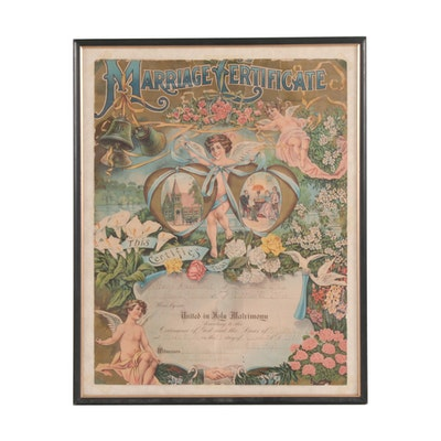 Ohio Marriage Certificate with Chromolithograph, 1901