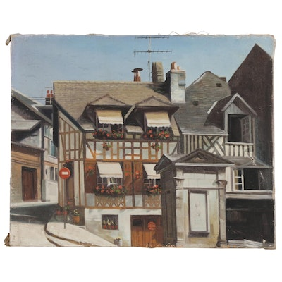 Architectural Oil Painting of Tudor Buildings