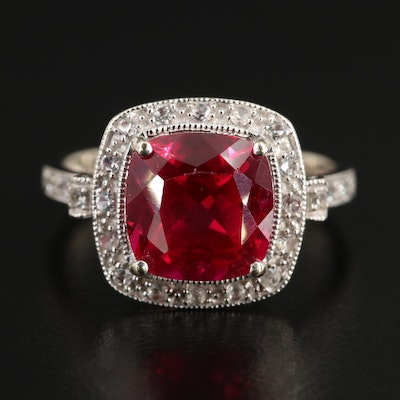 14K White Gold Synthetic Ruby and Synthetic Sapphire Ring