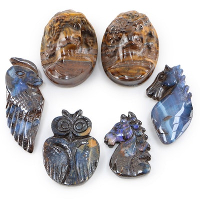 Boulder Opal Bird and Horse Carvings with Tiger's Eye Cameos