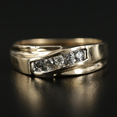 14K Gold Diamond Crossover Channel Ring