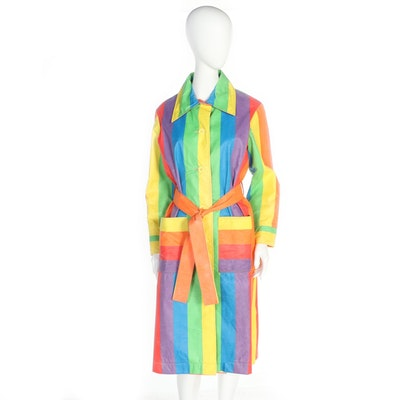 T.T. Mallo by Max Adler Multicolor Stripe Raincoat with Tie Sash, 1970s Vintage