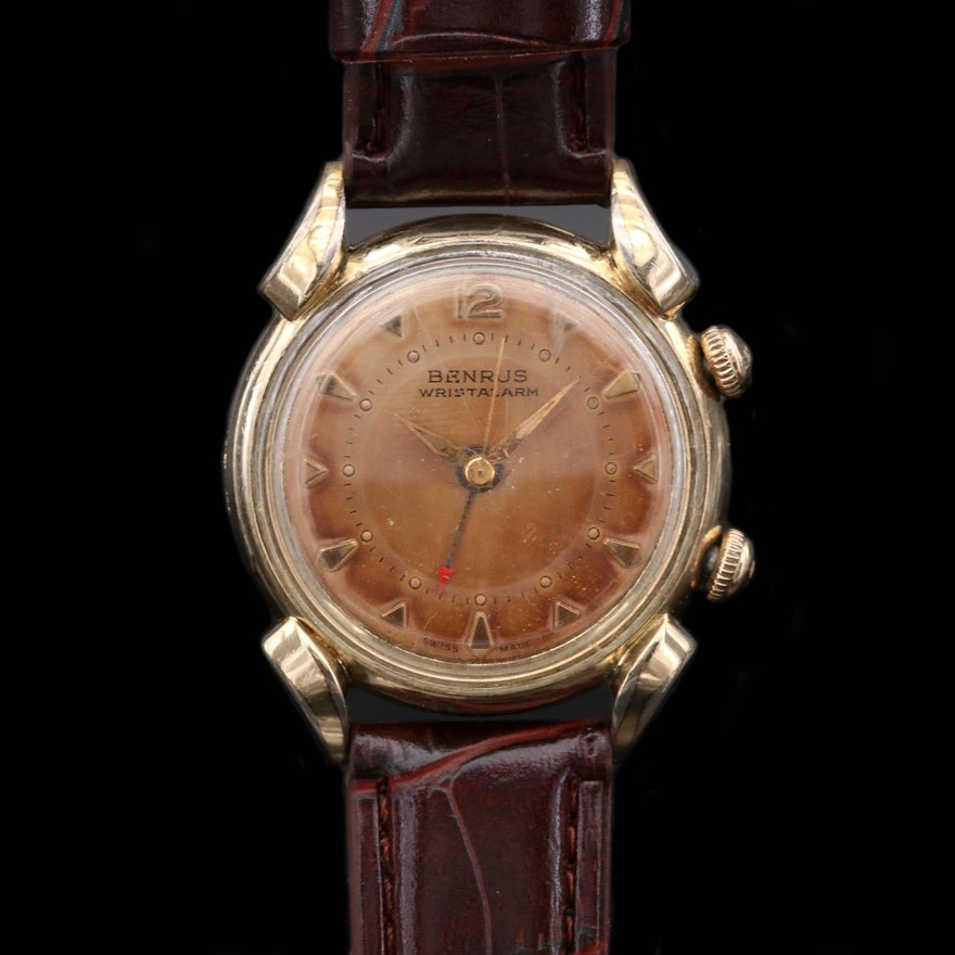 Vintage Benrus Wrist Alarm Gold Tone Stem Wind Wristwatch