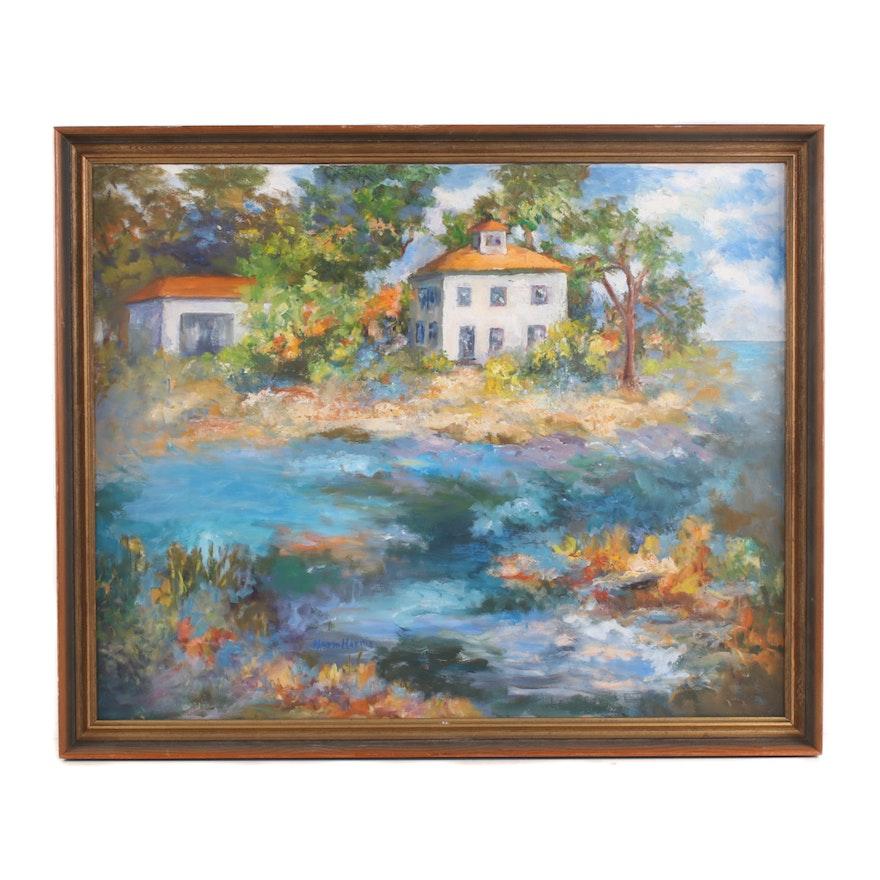 Norm Harris Coastal Cottage Landscape Oil Painting