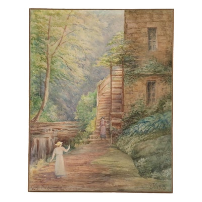 """Genre Watercolor Painting """"Rigg Mill"""", 1913"""