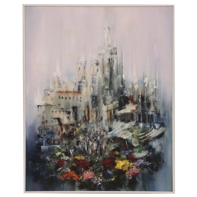 Abstract Cityscape Oil Painting, Late 20th Century
