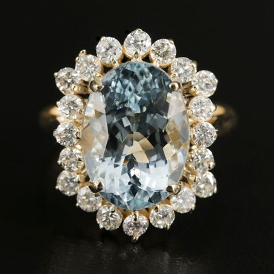 14K Gold 5.89 CT Aquamarine and 1.00 CTW Diamond Ring